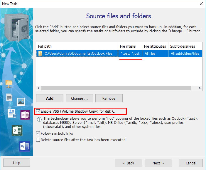Configure shadow copy to back up open files